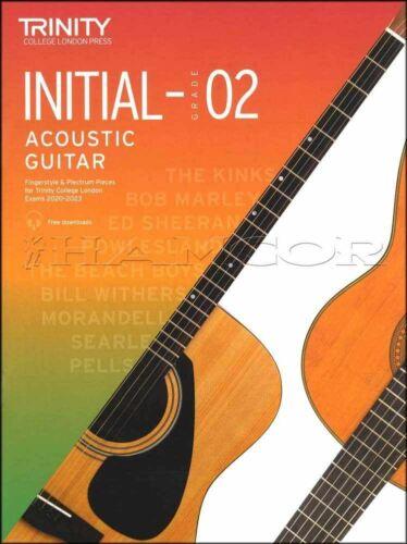 Trinity College Acoustic Guitar Initial-Grade 2 TAB /& Music Book//Audio 2020-2023