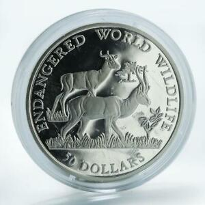 Cook Islands 50 Dollars 1990 Wildlife Caracal Silver