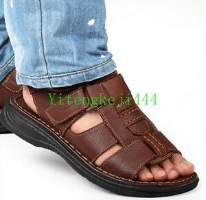 4dad4644643 Mens summer open toe leather casual sport flat beach sandals shoes ...