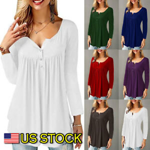 Ruffle-O-Neck-Swing-Tunic-Blouse-Button-Pleated-Shirt-Long-Sleeve-US-Womens-Top
