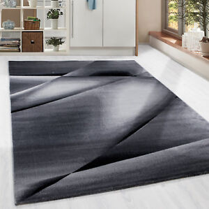 poils ras tapis moderne abstraite lienien ombre motif salon gris chin ebay. Black Bedroom Furniture Sets. Home Design Ideas
