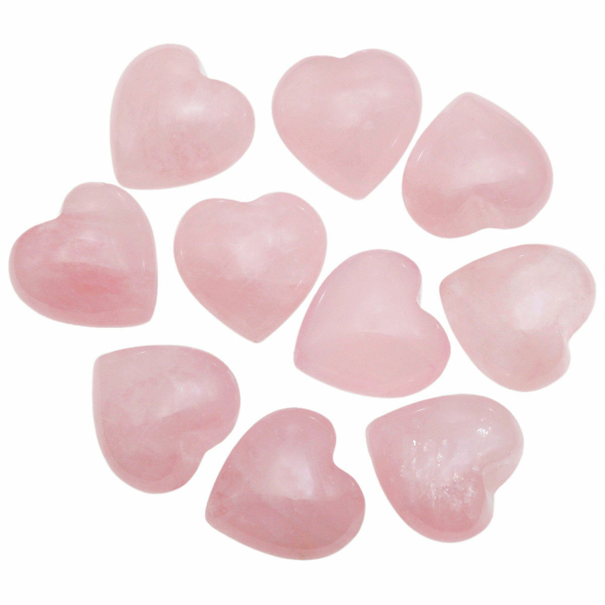 "100Pc Rose Quartz Puff Heart Worry Stone Pocket Palm Crystal Healing Chakra 0.5/"""
