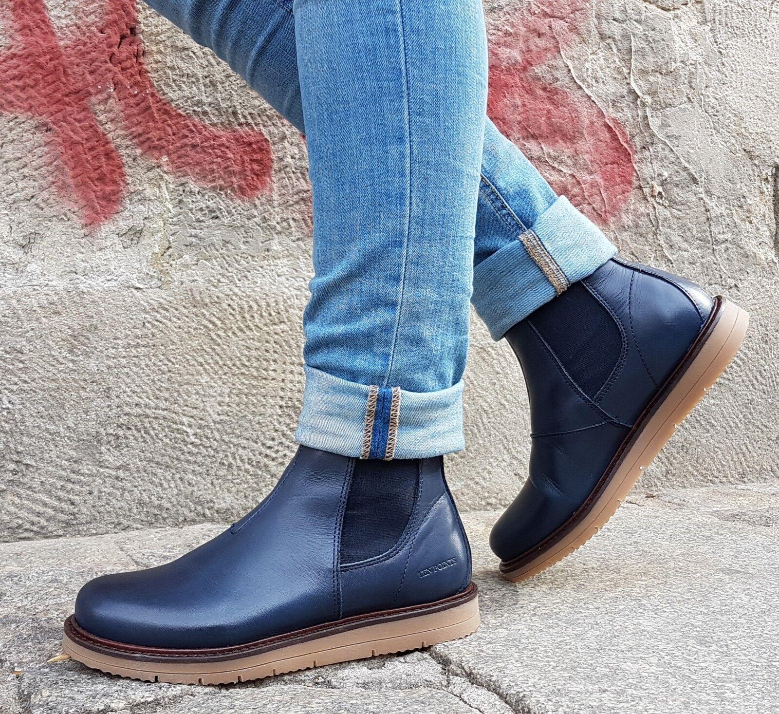 Ten Points Chaussures en Cuir Carina 386005 darkbleu 703 Chelsea-démarrage warmfutter