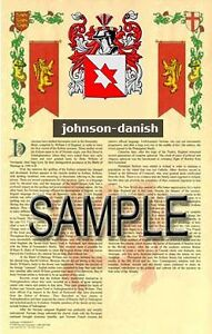 Details about JOHNSON Armorial Name History - Coat of Arms - Family Crest  GIFT! 11x17