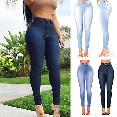 Women Stretchy Ripped Pencil Jeans Casual Slim Fit Trousers Denim Pants Jeggings