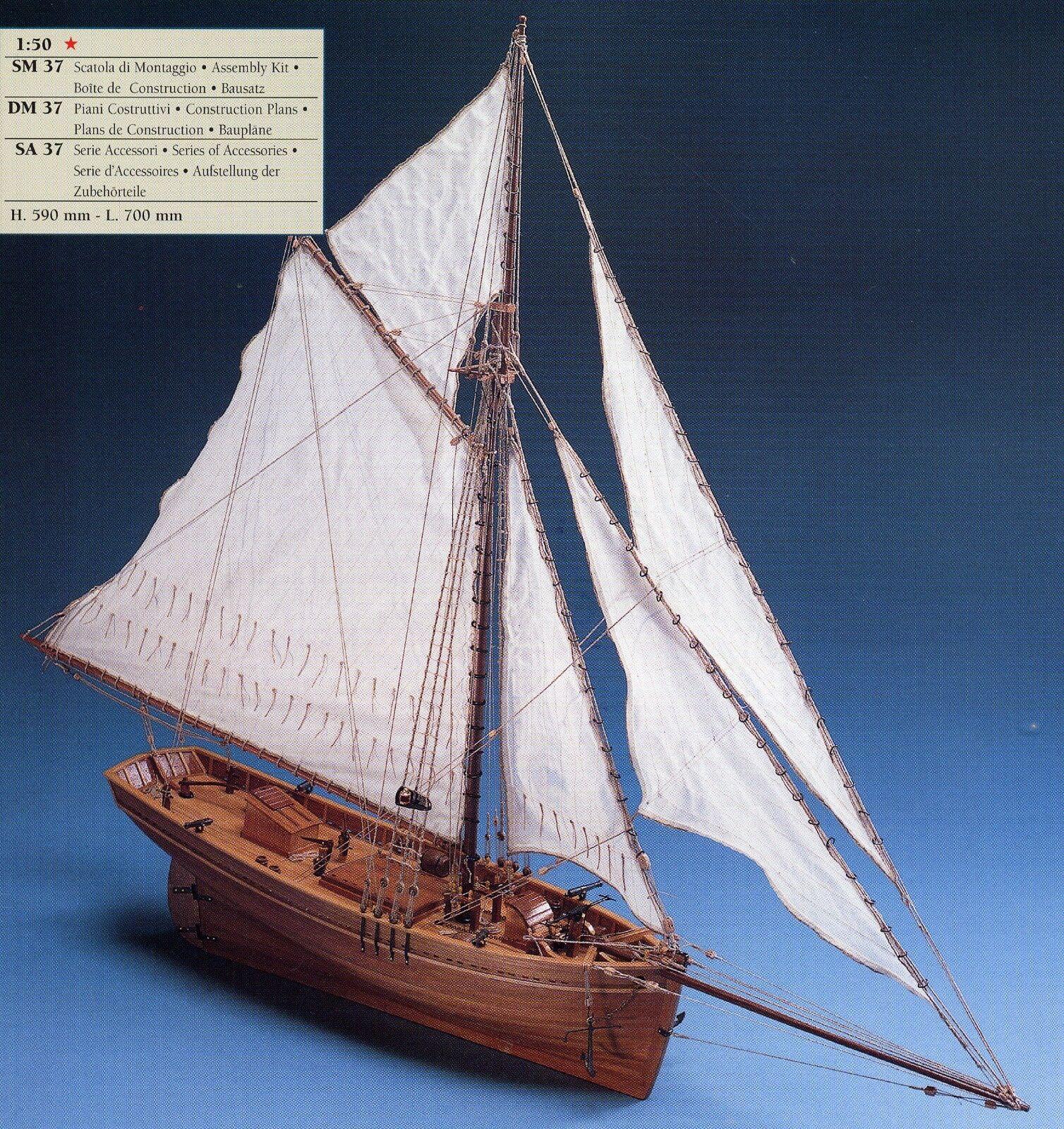COREL SM37 BARCA Modello SHENANDOAH imbarcazione Nave CUTTER americano 1 50