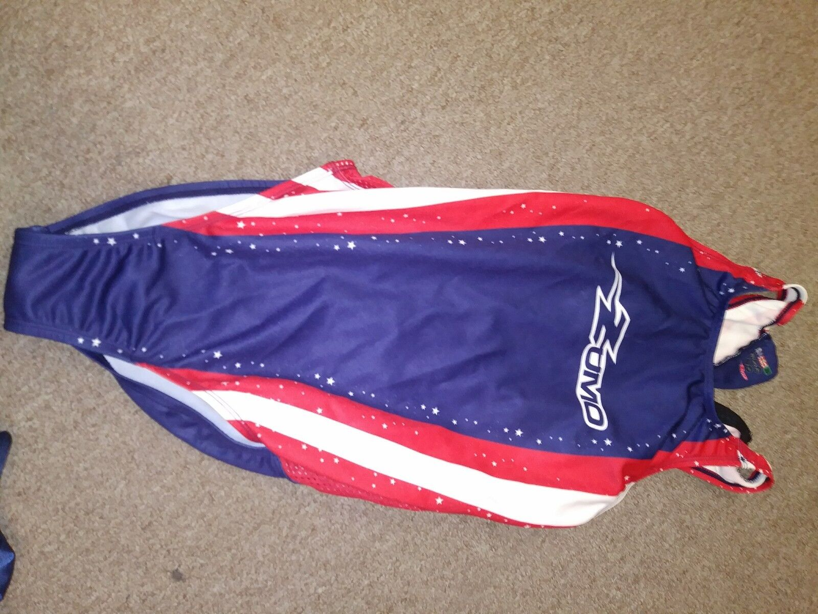 Water Polo Competition Swim Suit,New, by Zumo,Female, Stars & Stripes R W Navy