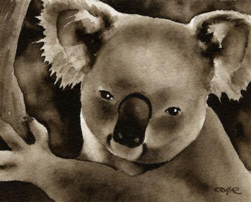 Koala Bear Art Print Sepia Watercolor 11 x 14 by Artist DJR