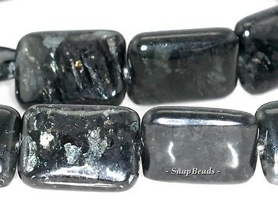 DARK KNIGHT BIOTITE GEMSTONE BLACK RECTANGLE 16X12MM LOOSE BEADS 7.5""