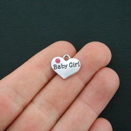 BULK 20 Baby Girl Heart Charms Antique Silver Tone 2 Sided Rhinestones SC4378