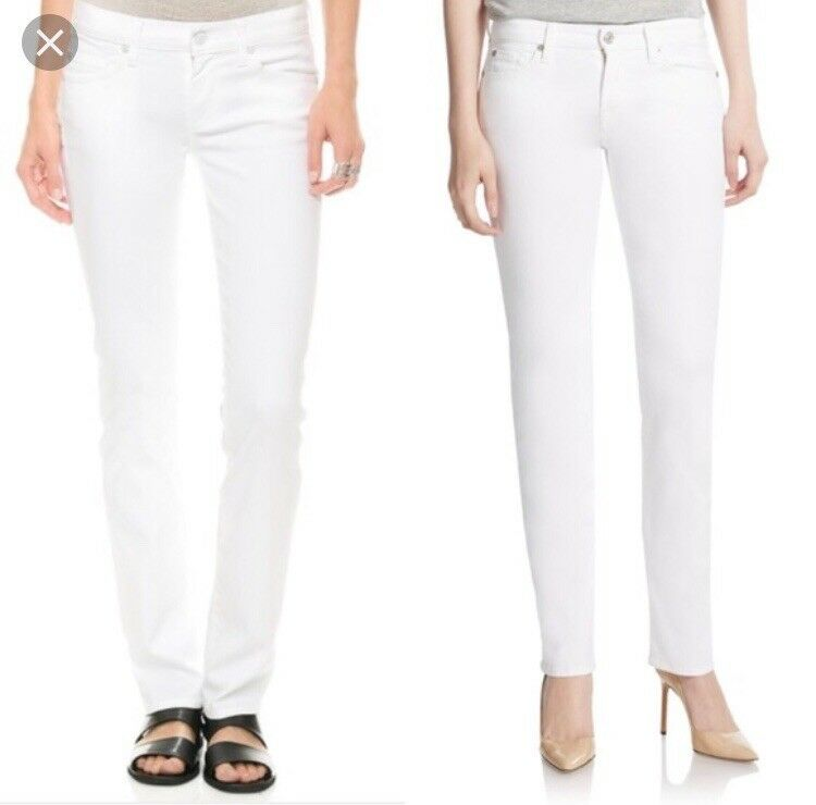 NWT 7 For All Mankind Womens Size 25 White Denim Jimmie Straight Jeans