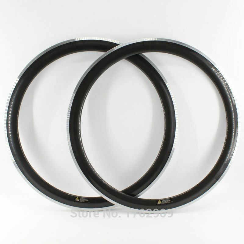 2Pcs 700C 50mm Road bike carbon bicycle wheels clincher rims alloy brake surface