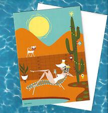 SHAG Josh Agle Christmas Xmas 2016 Greeting Card Art DESERT HOLIDAYS white cat