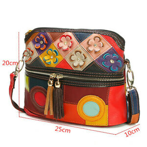Women-Handmade-Genuine-Leather-Floral-Splicing-Bucket-Bohemian-Shoulder-Bag-Tote