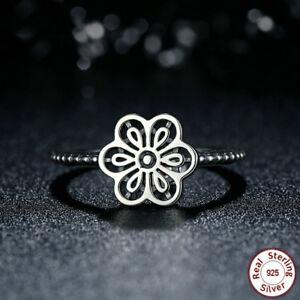 Vintage-Men-Women-Ring-Silver-925-Jewelry-Flower-Wedding-Ring-Size-6-10