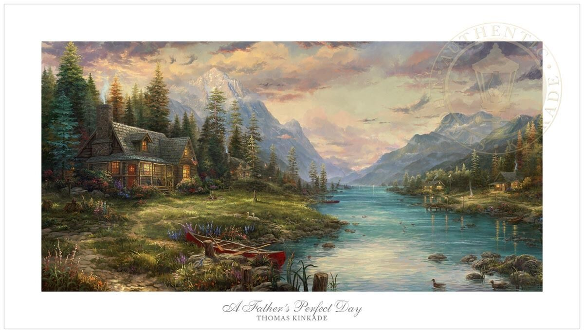Thomas Kinkade Studios Father's Perfect Day 18 x 36 G P Limited Edition Paper