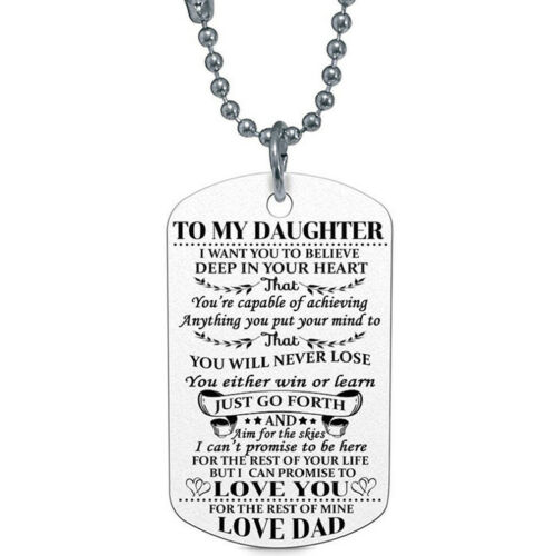 À ma fille//Fils I Love You Love Collier Tag Graduation cadeau g