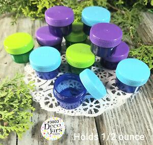12-Purple-Green-Blue-Jars-w-caps-1-TBLSP-1-2-oz-Containers-3803-DecoJars-USA