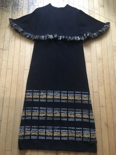 Black Wool Cape Dress Arola M Lined Made In Finlan