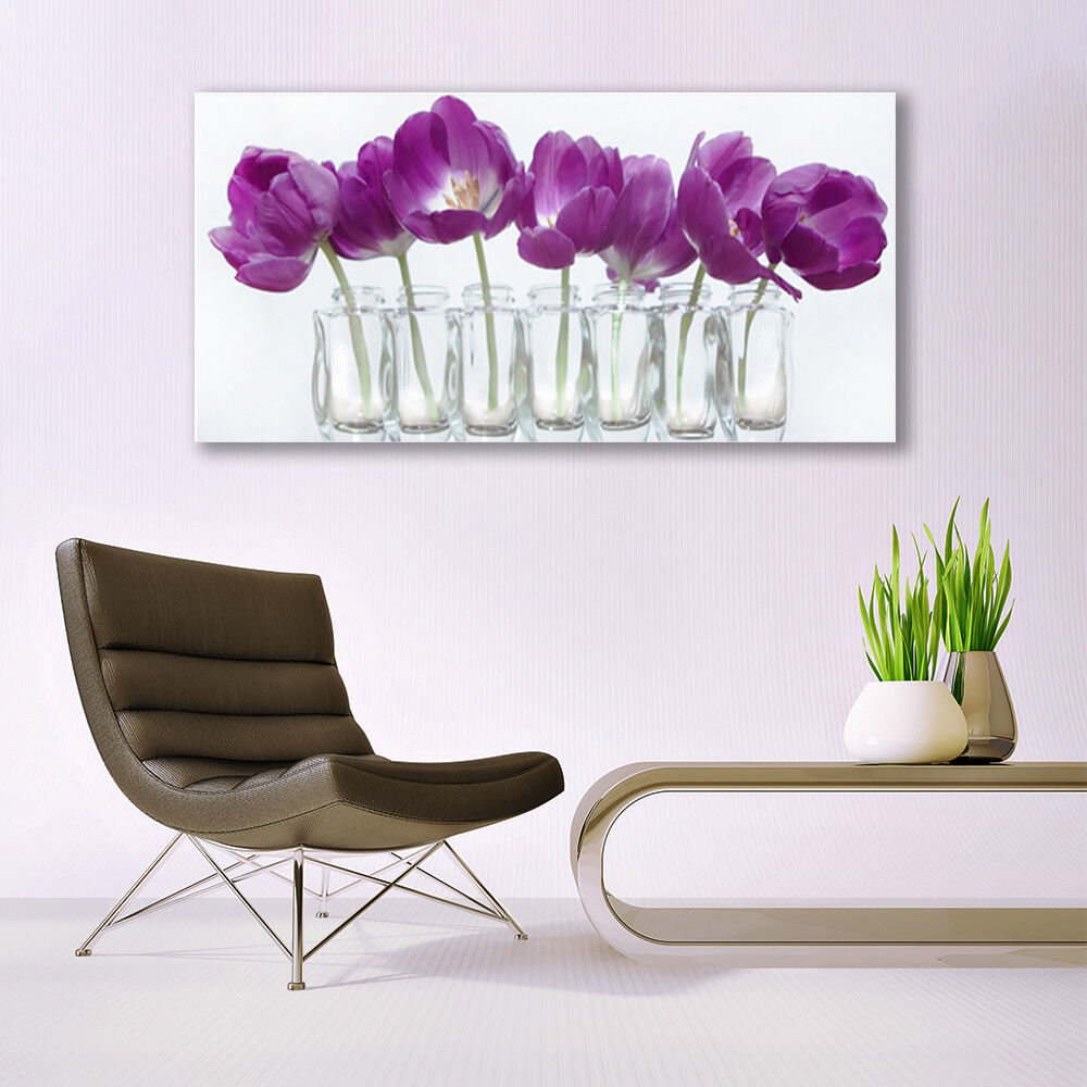 Glass print Wall art 140x70 Image Image Image Picture Flowers Floral a049db