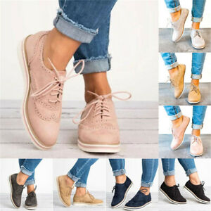 Womens-Casual-Wing-Tip-Brogues-Oxfords-Dress-Formal-Lace-Up-Flats-Shoes-Sizes-10