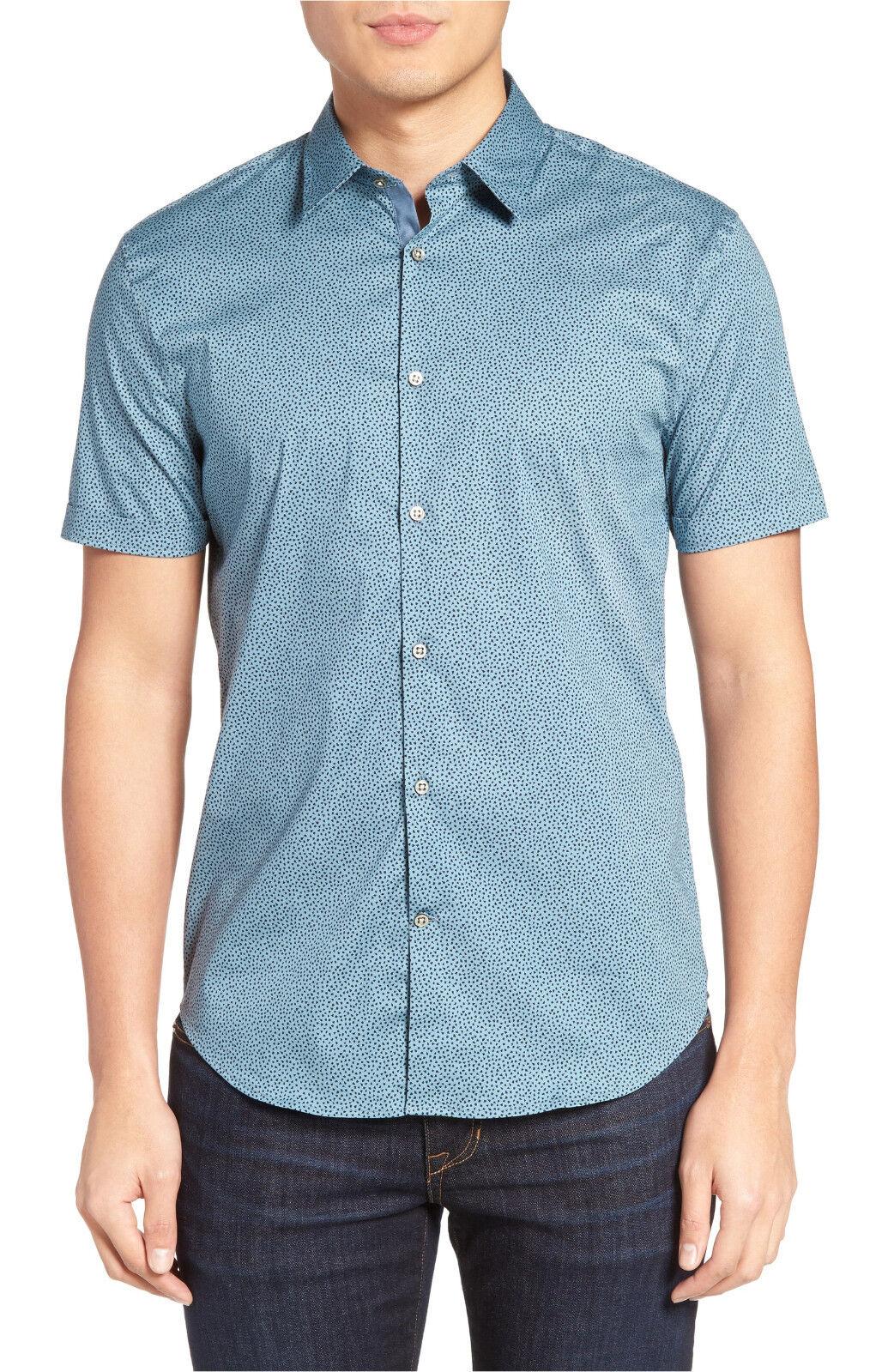 John Varvatos Star Usa Slim Fit Micro Print Short Sleeve Sport Shirt, M,