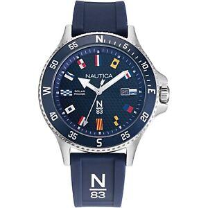 Nautica-N83-Men-039-s-Cocoa-Beach-Solar-BLUE-Silver-Flags-Rubber-Strap-Watch