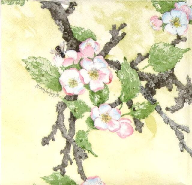 4x Paper Napkins for Decoupage  Mona Svard Apple Blossom