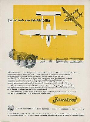 1953 Janitrol Heater Ad Fairchild C-119H Airplane Aviation USAF Air Force