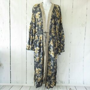 New Easel Maxi Kimono Cardigan M Medium Blue Floral Tie Front Prairie Cottage