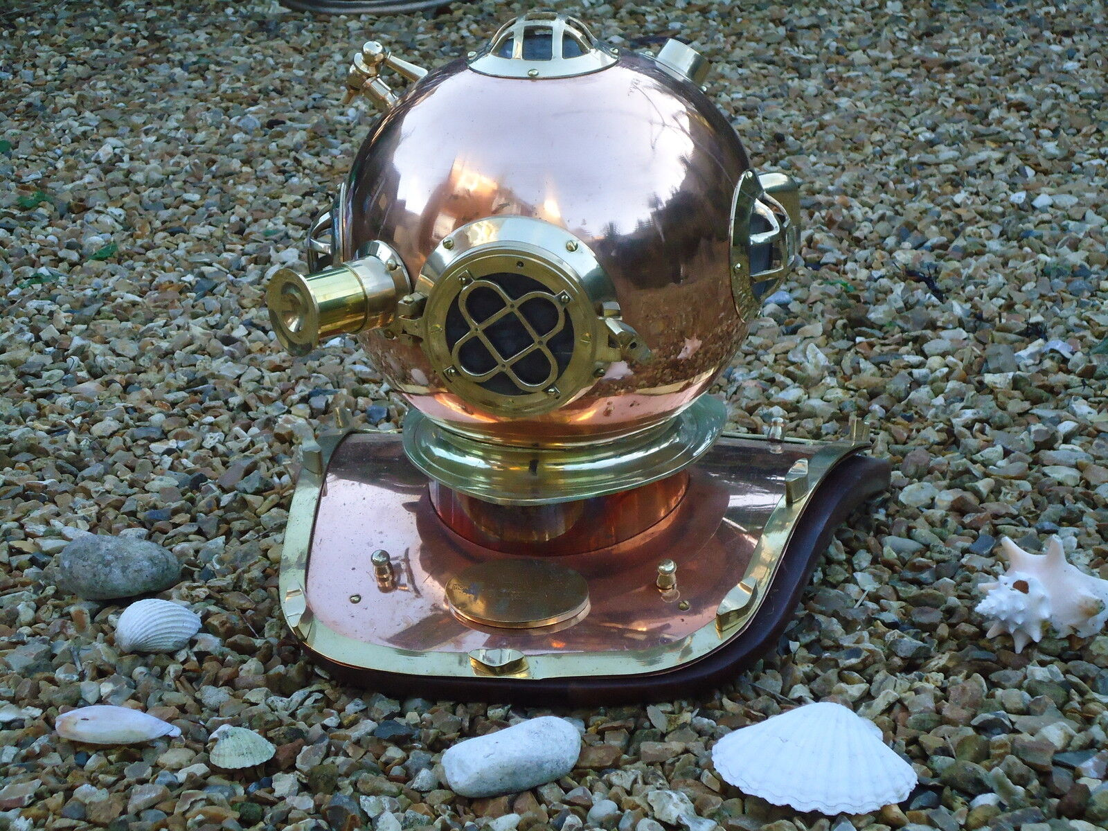 Divers Helmet Copper & Brass Full Size US Navy Style   -Nautical Pub Bar Diving