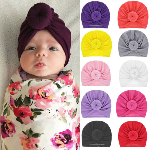 Newborn Toddler Kid Girls Baby Turban Knotted Cotton Headband Hair Band Headwear