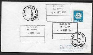 Surinam covers 1941 Shipcover KNSM SS FLORA Port-Au-Prince