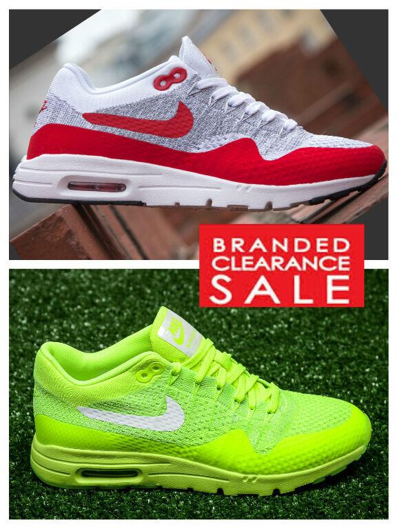 BNIB New Donna Nike Air Max 1 Yellow Ultra Flyknit White Red Yellow 1 Size 3 4 5 uk e94b53