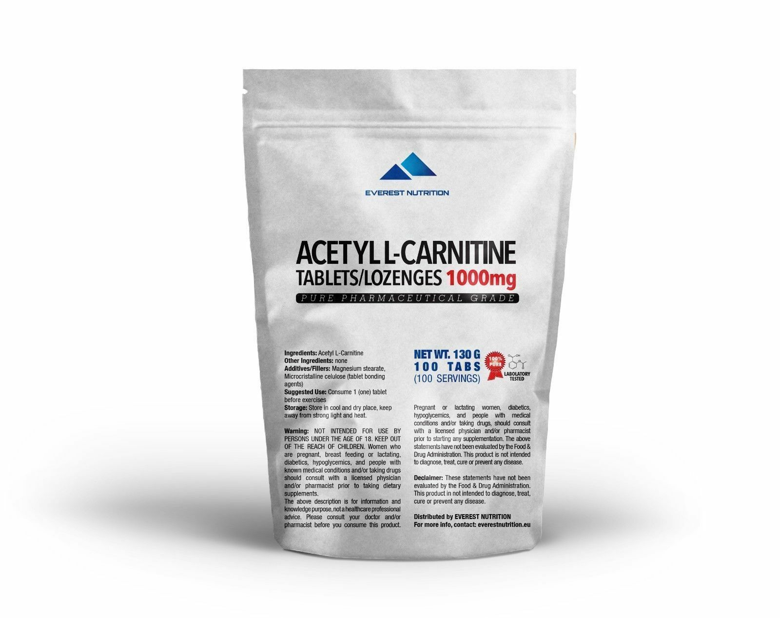 ACETYL L-CARNITINE, ALCAR, ALC 1000mg TABLETS, LOZENGES, PHARMACEUTICAL QUALITY