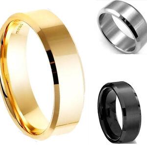 8MM-Silver-Black-Gold-Stainless-Steel-Men-039-s-Wedding-Band-Titanium-Ring-Sz-7-13