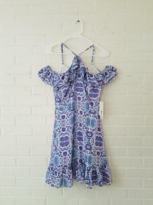 AQUA BLOOMINGDALES NWT NEW $88 pink blue Purple FLoral Ruffle Dress Small S   eBay