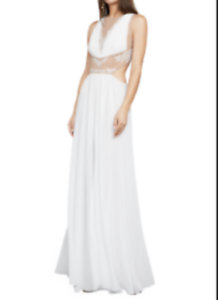 NEW BCBG MAXAZRIA OFF WHITE GISELA EMBROIDERED GOWN JGK66L10 L524A SZ 12