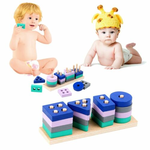 Details about  /Mini Wooden Montessori Toy Building Blocks Early Learning Educational Toys QZ