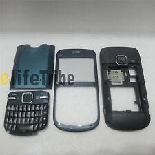 Full Housing Cover Case Front + Back Cove + Keypad for Nokia C3 C3-00 Blue
