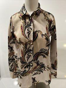 ETRO Milano Women's Neutrals Paisley Long Sleeve Button Up Long Blouse Size 42