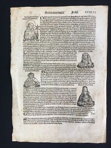 1493 Nuremberg Chronicle by Hartmann Schedel Single Folio Manuscript Page CCXLVI
