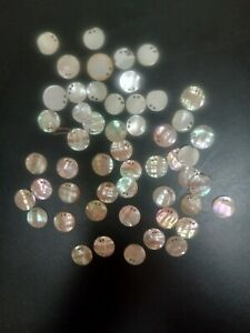 50 Vintage Round Flat Abalone Shell buttons 2 Holes flat