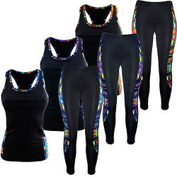 Damen Sport-Anzug Tank Top Shirt+ Leggings Sport-Set Training Set Zweiteiler