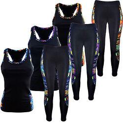 Damen Sport-Anzug Tank Top Shirt+ Leggings Sport-Set Training Set Zweiteiler