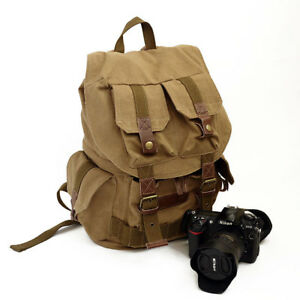 vintage canvas pocket leather camera backpack E0012 | eBay
