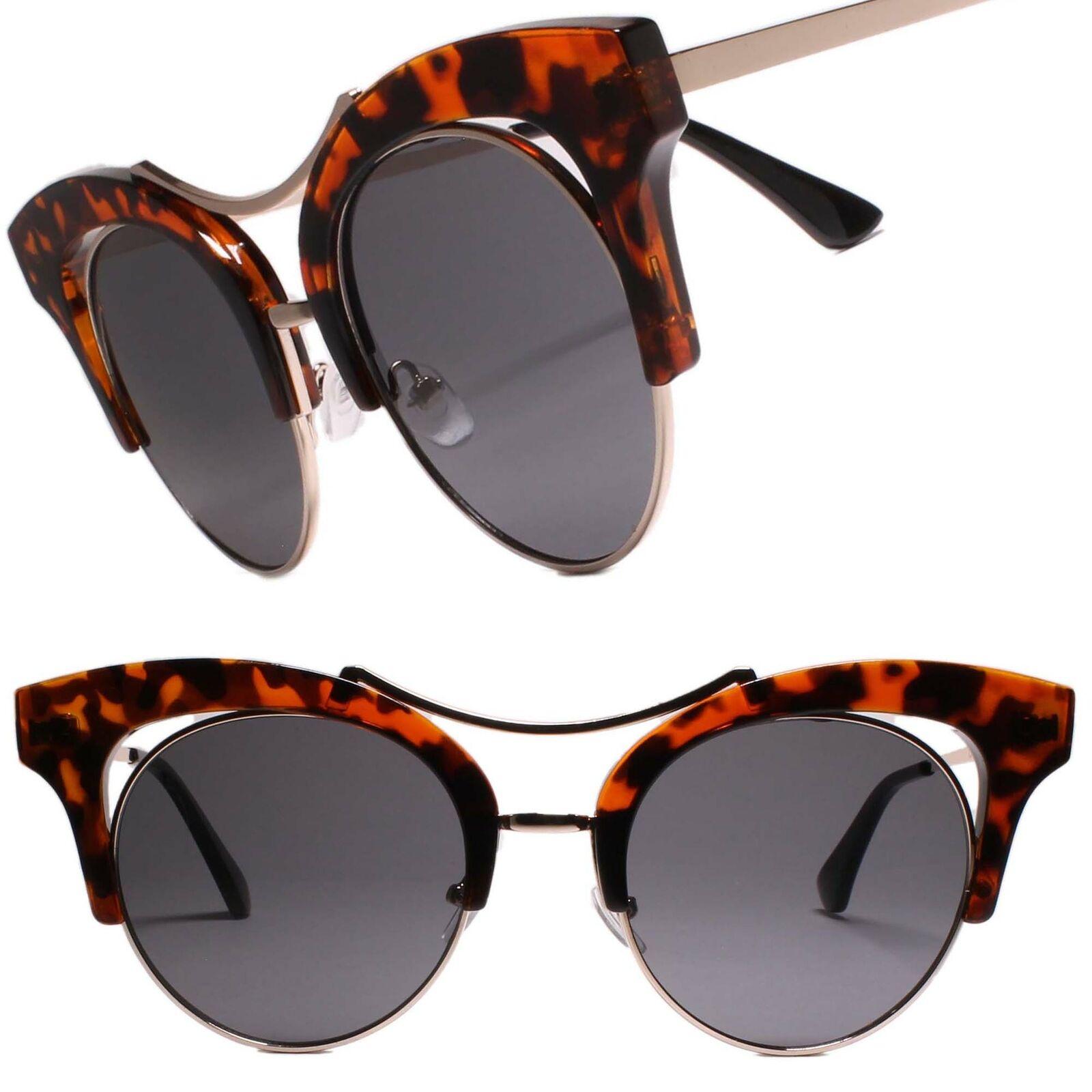 Fancy Elegant Fashionable Womens Round Lens Cat Eye Sunglasses Tortoise Frame