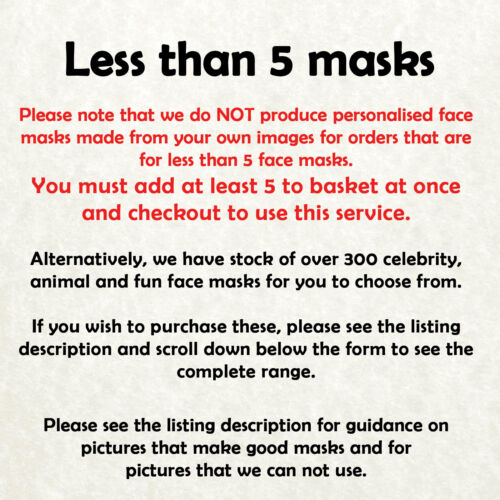 Cheap Custom Made Face Mask DIY Set Personalised Photo Stag Birthday Party c
