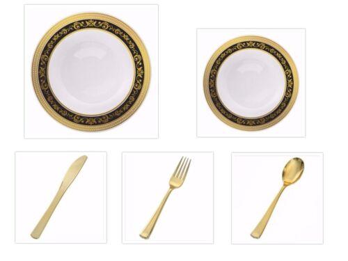 White w//Black Gold Royal Border China-like Plastic Plates Cutlery Set 500 Pieces