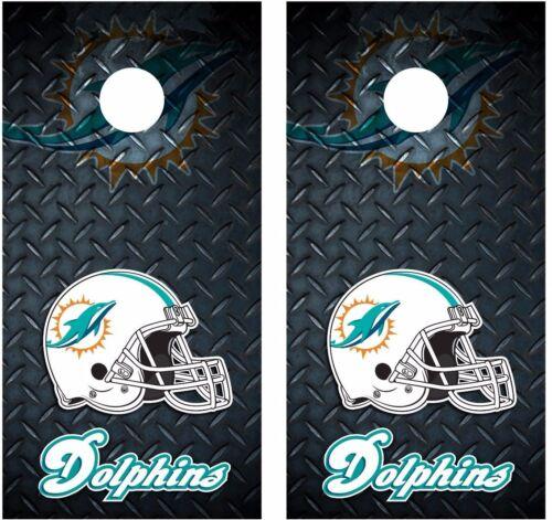 Miami Dolphins Diamond Plate Cornhole Board Decal Wrap Wraps